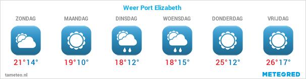Weersverwachting voor de komende dagen in Port Elizabeth