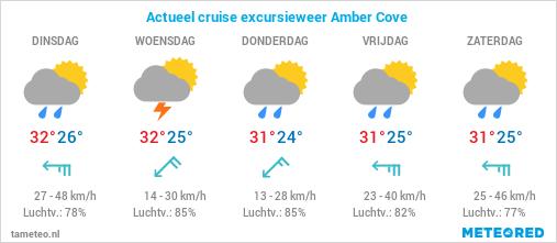 Actueel cruise excursie weer Amber Cove